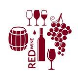 查出的om红色waite酒 象集合 在白色背景的抽象酒元素 皇族释放例证