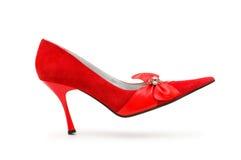 查出的oo穿上鞋子妇女 免版税库存照片