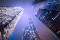 查寻到从香港下面的摩天大楼 库存图片
