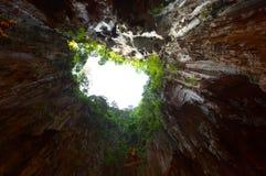 查寻对从深巴图洞,马来西亚的天空 库存图片