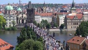 查尔斯桥梁在布拉格 股票录像