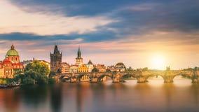 查尔斯桥梁,布拉格,捷克的著名偶象图象 C 图库摄影