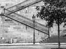查尔斯桥梁,布拉格, Czechia细节,在黑白照片 免版税库存图片