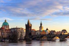 查尔斯桥梁, Moldau河,一点镇,布拉格城堡,布拉格(联合国科教文组织),捷克共和国 库存照片