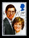 查尔斯王子和戴安娜Spencer,皇家婚礼serie夫人,大约1981年 免版税库存图片