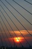 查尔斯顿S.C.索桥日落摘要 库存图片