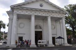 查尔斯顿SC, 8月7日:从查尔斯顿的教会St Michaels在南卡罗来纳 免版税库存照片