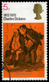查尔斯・狄更斯英国邮票 图库摄影