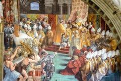 查尔曼的加冕 16世纪的壁画 库存照片