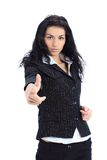 查找出头的女人的企业手指您 免版税库存照片