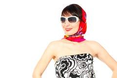 查找太阳镜妇女的海滩 库存图片