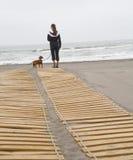 查找对有狗的海运的妇女 免版税库存照片