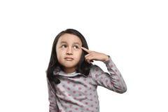 查找快乐的亚裔的女孩认为寻找想法或线索 免版税库存图片