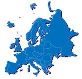 在3D的欧洲映射 免版税库存照片