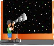 查找望远镜的男孩 库存照片