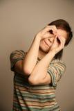查找浏览器的亚裔女孩 免版税库存照片
