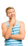 查找认为的快乐的年轻人隔绝在白色backgroun 免版税库存照片