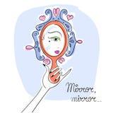 查找镜子妇女 免版税库存照片
