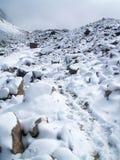 查查尼峰多雪的山峰 图库摄影