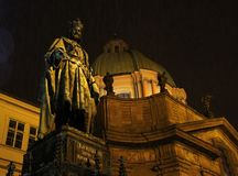 查理四世雕象在布拉格 图库摄影