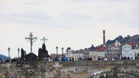 查理大桥侧视图在布拉格,捷克语 影视素材