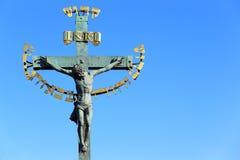 从查理大桥的耶稣 免版税图库摄影