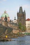 查理大桥,布拉格,捷克塔  免版税库存图片