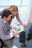 查看图形的一个集中的企业小组的纵向 免版税库存图片