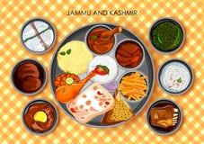 查谟传统烹调和食物膳食thali  皇族释放例证