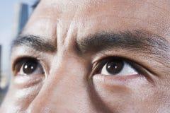 查寻运动员的眼睛,特写镜头 免版税库存图片