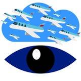 查寻飞机飞行蓝眼睛商标传染媒介 图库摄影