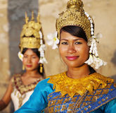 柬埔寨传统Aspara舞蹈家概念 免版税库存照片