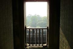 柬埔寨吴哥窟视图在密林的窗口里 库存图片