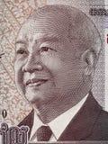 柬埔寨在1000个瑞尔钞票m的诺罗敦・西哈努克国王画象 免版税图库摄影