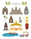 柬埔寨地标和文化对象集合 库存图片