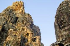 柬埔寨寺庙的古老石面孔 免版税库存图片