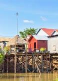 柬埔寨捕鱼高跷村庄 免版税图库摄影