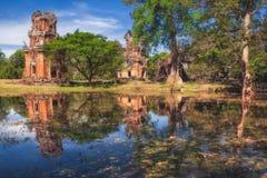 柬埔寨收割siem Kleangi和Prasat Suor Prat在吴哥城 免版税库存图片