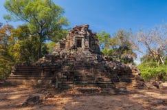 柬埔寨收割siem Preah Pithu寺庙废墟在吴哥城仿古城市 库存照片
