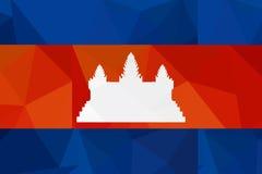 柬埔寨旗子-三角多角形样式 免版税库存图片