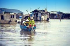 柬埔寨湖人榨取tonle 免版税库存图片