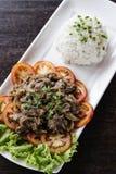 柬埔寨牛肉lok lak传统高棉食物 免版税库存照片