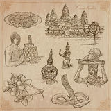 柬埔寨王国-手拉的传染媒介组装 库存图片
