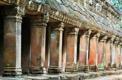 柬埔寨画廊柱子prohm收割siem ta 库存照片