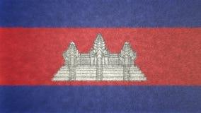 柬埔寨的旗子的原始的3D图象 库存例证