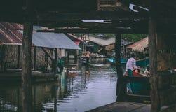 柬埔寨的美丽的Kampot河在亚洲东南部 免版税库存图片