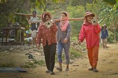 柬埔寨移居泰国工作者 库存照片