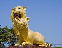 柬埔寨著名狮子sihanoukville雕象 免版税库存照片