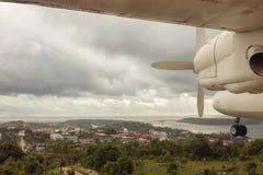 柬埔寨风景和飞机前景空中全景  免版税库存照片