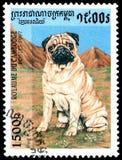 柬埔寨-大约1997年:邮票,打印在柬埔寨,显示一个哈巴狗Carlin 库存图片